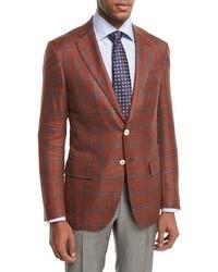 Sanita plaid two button sport coat rustblue medium 1246431