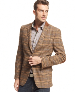 Tallia Orange Jacket Brown Plaid Blazer Slim Fit | Where to buy ...