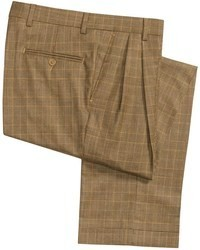 Barry Bricken Cuffed Plaid Dress Pants Wool Double Reverse Pleats