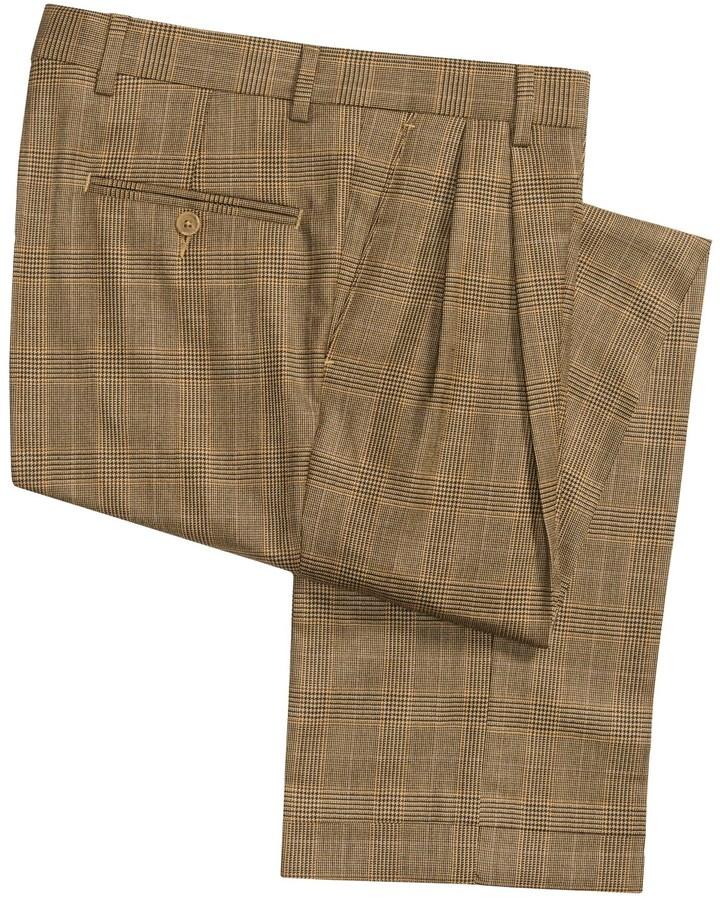 Barry Bricken Cuffed Plaid Dress Pants Wool Double Reverse Pleats