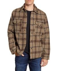 Brown Plaid Wool Shirt Jacket