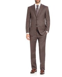 Brown Plaid Wool Suit