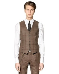 Prince Of Wales Stretch Wool Vest