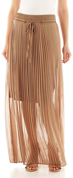 8681f575a6f ... Brown Pleated Maxi Skirts jcpenney Worthington Zipper Detailed Pleated Maxi  Skirt Tall ...