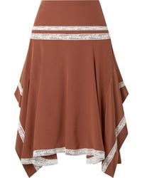 Chloé Asymmetric Med Silk Satin Skirt