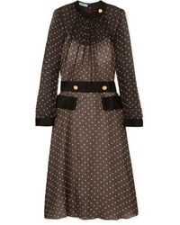 Prada Polka Dot Chiffon Midi Dress