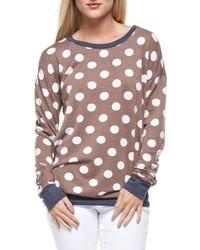 Brown Polka Dot Crew-neck Sweater