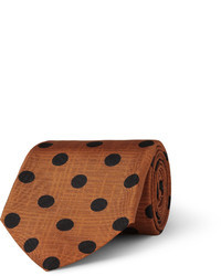 Brown Polka Dot Silk Tie