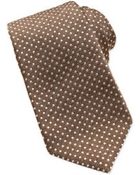 Isaia Polka Dot Silk Tie Brown