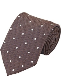 Fairfax Polka Dot Jacquard Necktie Brown