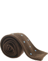 Saryans Arthur Polka Dot Knit Tie Brown Ties