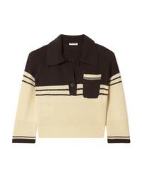 Miu Miu Cropped Striped Cashmere Polo Shirt