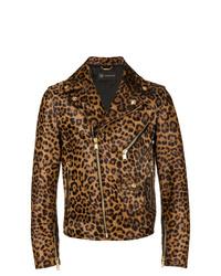 Versace Leather Leopard Print Biker Jacket