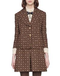 Gucci Damier Logo Shrunken Wool Blend Blazer