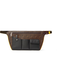 Fendi Logo Jacquard Canvas And Leather Belt Bag