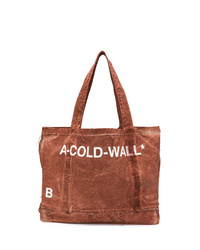 Brown Print Canvas Tote Bag