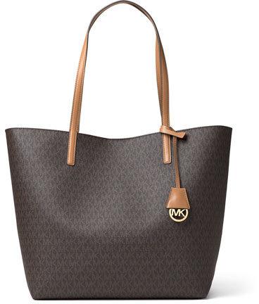 c88530190a56 ... MICHAEL Michael Kors Michl Michl Kors Hayley Large East West Logo Print  Tote Bag Brownpeanut ...