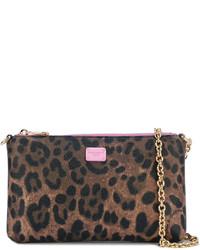 Dolce & Gabbana Mini Leopard Print Crepe Clutch