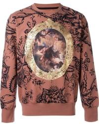 Brown Print Crew-neck Sweater