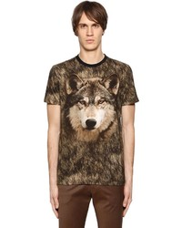 Etro Wolf Printed Cotton Jersey T Shirt