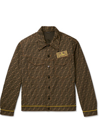Fendi Logo Intarsia Denim Jacket