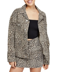 BDG Urban Outfitters Leopard Denim Western Jacket