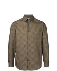 Brown Print Dress Shirt