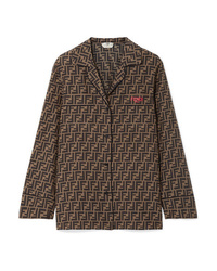 Fendi Embroidered Printed Silk Satin Shirt
