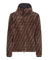 Fendi Reversible Ff Genuine Shearling Leather Hooded Jacket