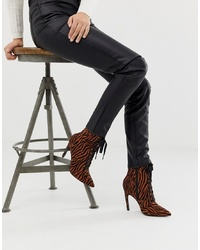 ASOS DESIGN Elaina Tiger Print Lace Up Boots