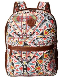 Brown Print Leather Backpack