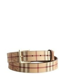 Burberry Brown Haymarket Check Leather And Coated Canvas Ross Belt