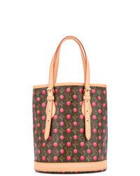 Brown Print Leather Bucket Bag