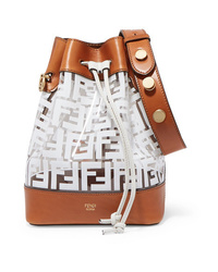 Fendi Mon Trsor Medium Printed Pvc And Leather Bucket Bag