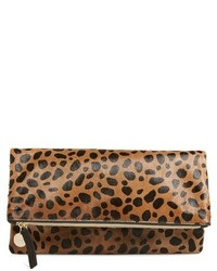 Clare v genuine calf hair leopard print foldover clutch beige medium 619966