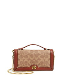 Coach Riley Signature Canvas Leather Chain Clutch