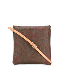 Brown Print Leather Crossbody Bag