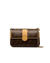 Fendi Double F Logo Leather Shoulder Bag