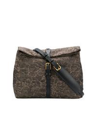 Brown Print Leather Messenger Bag