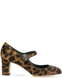 Dolce & Gabbana Leopard Print Mary Jane Pumps
