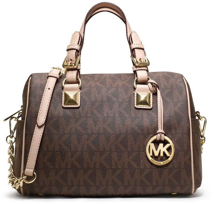 79ab9e750dd26 official store michael michael kors michael michael kors medium grayson logo  monogram satchel brown 593c4 7b889