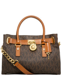 Michl michl kors hamilton mk logo satchel bag brown medium 113916
