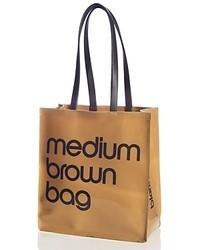 Brown Print Leather Tote Bag