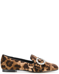 Dolce & Gabbana Leopard Print Loafers With Bejewelled Buckle