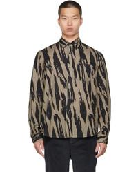 Kenzo Beige Black Pleat Camo Casual Shirt