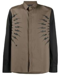 Neil Barrett Panelled Thunderbolt Shirt
