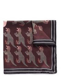 Paul Smith Dinosaur Print Silk Pocket Square