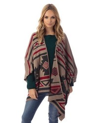 Nova Ortho Med Inc Fashion Union Printed Aztec Poncho Red