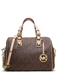 Brown Print Satchel Bag