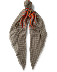 Gucci Fringed Printed Modal And Silk Blend Scarf
